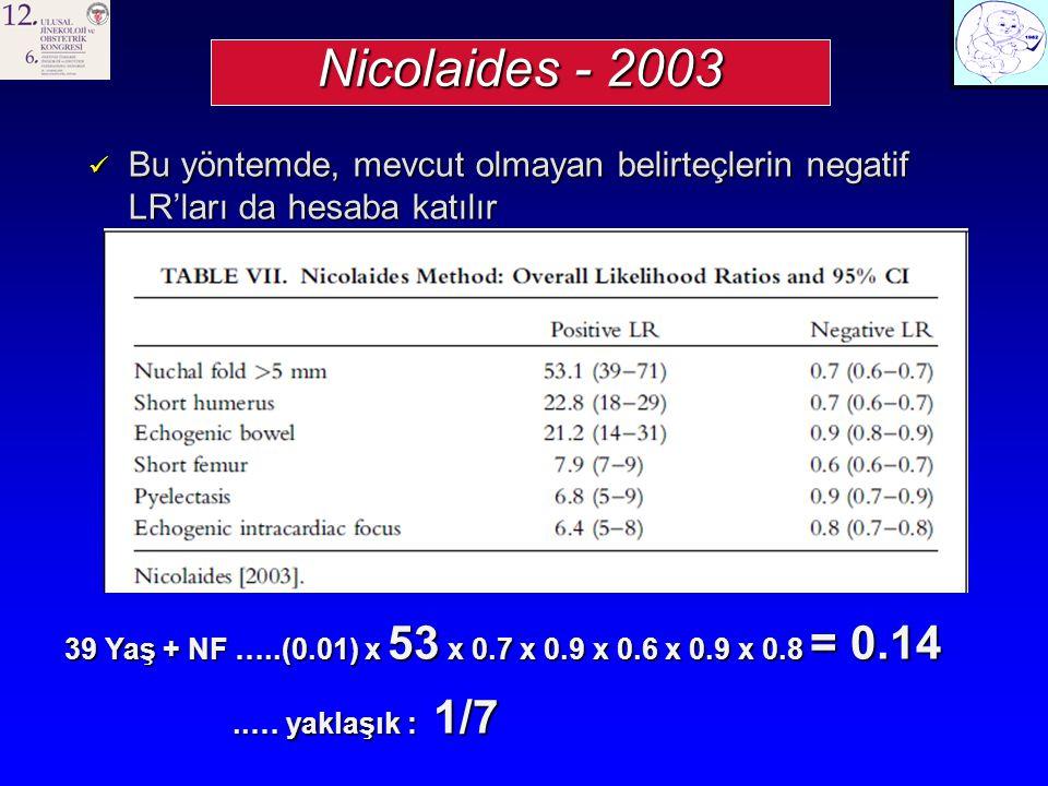 Nicolaides - 2003 Bu yöntemde, mevcut olmayan belirteçlerin negatif LR'ları da hesaba katılır.