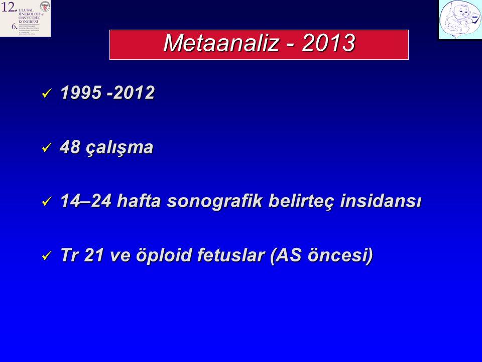 Metaanaliz - 2013 1995 -2012. 48 çalışma. 14–24 hafta sonografik belirteç insidansı.