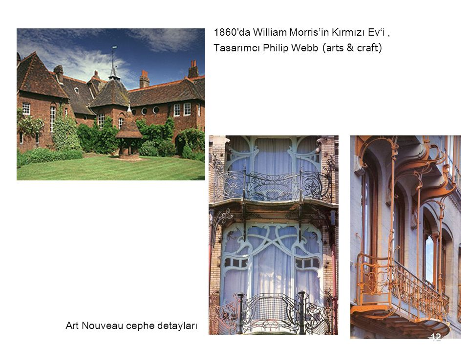 1860 da William Morris'in Kırmızı Ev'i , Tasarımcı Philip Webb (arts & craft)