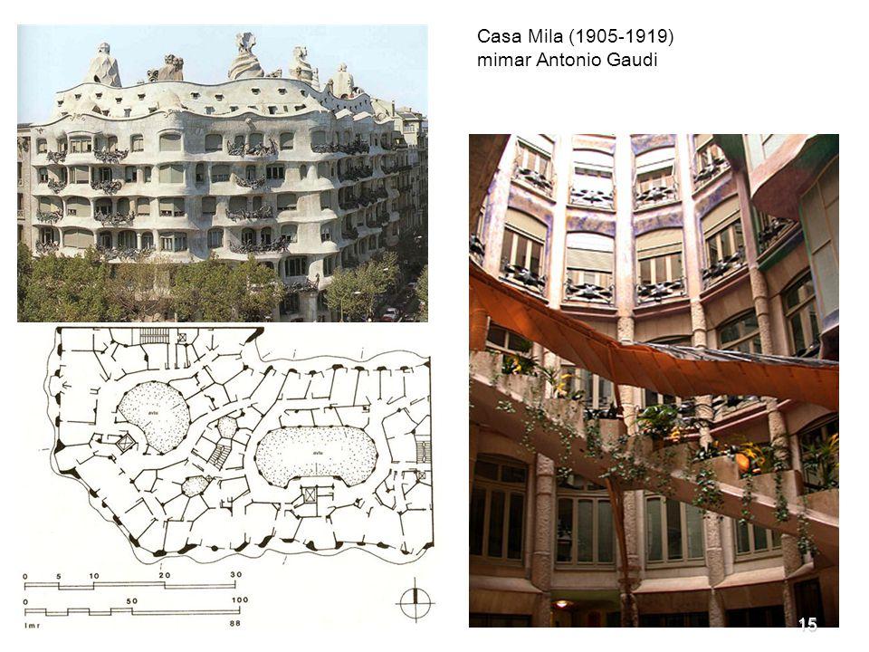 Casa Mila (1905-1919) mimar Antonio Gaudi