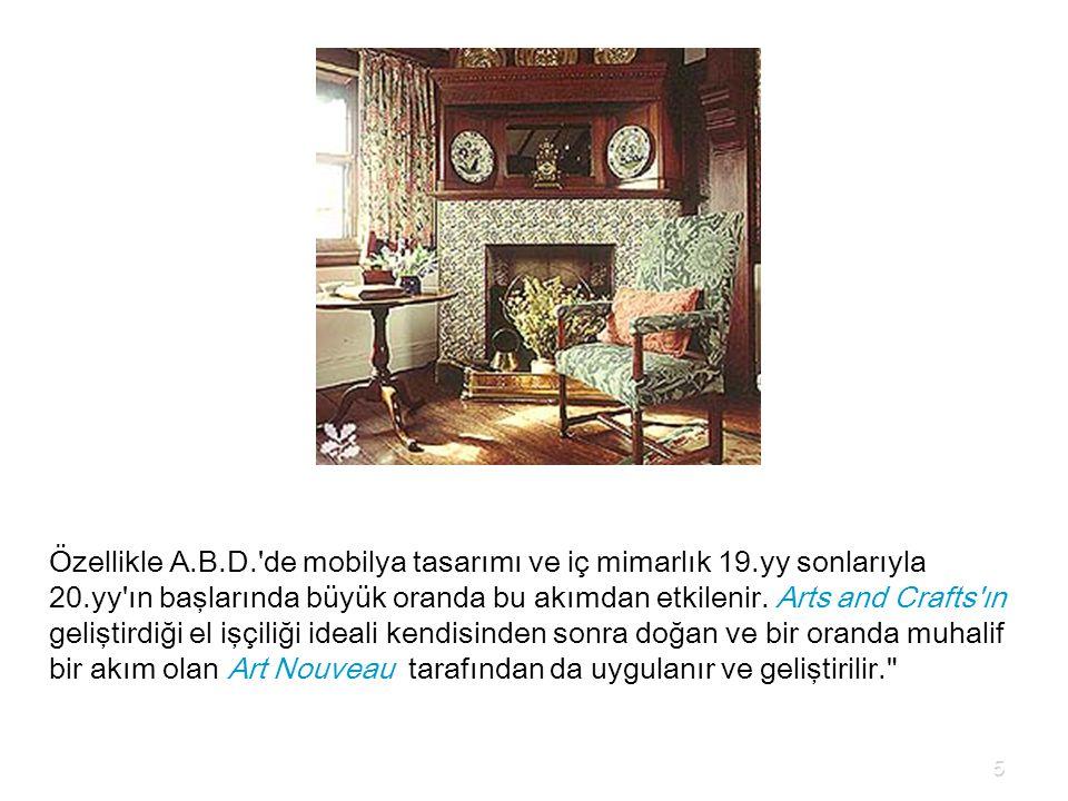 Özellikle A. B. D. de mobilya tasarımı ve iç mimarlık 19