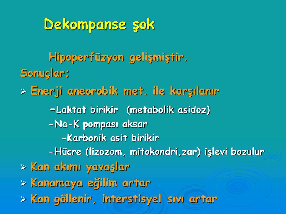 Dekompanse şok -Laktat birikir (metabolik asidoz)
