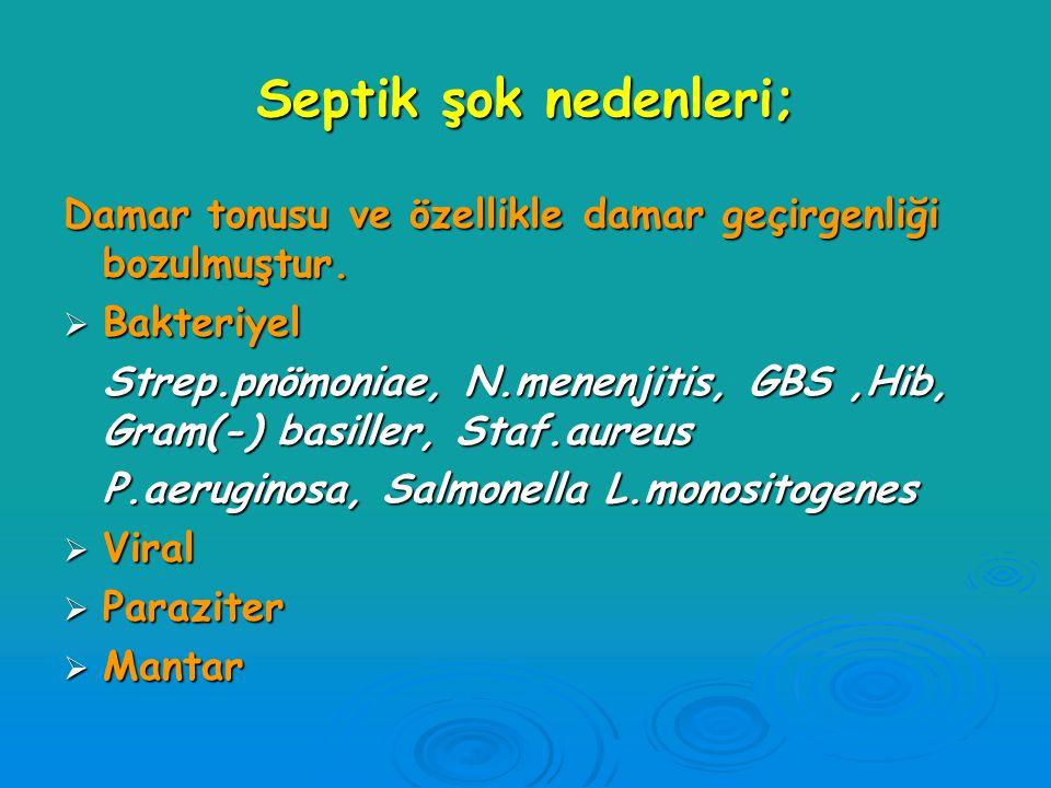 Septik şok nedenleri; Damar tonusu ve özellikle damar geçirgenliği bozulmuştur. Bakteriyel.