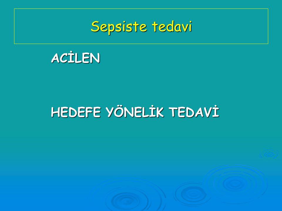 Sepsiste tedavi ACİLEN HEDEFE YÖNELİK TEDAVİ