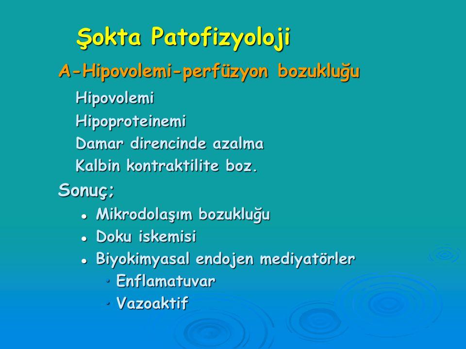 Şokta Patofizyoloji A-Hipovolemi-perfüzyon bozukluğu Hipovolemi Sonuç;