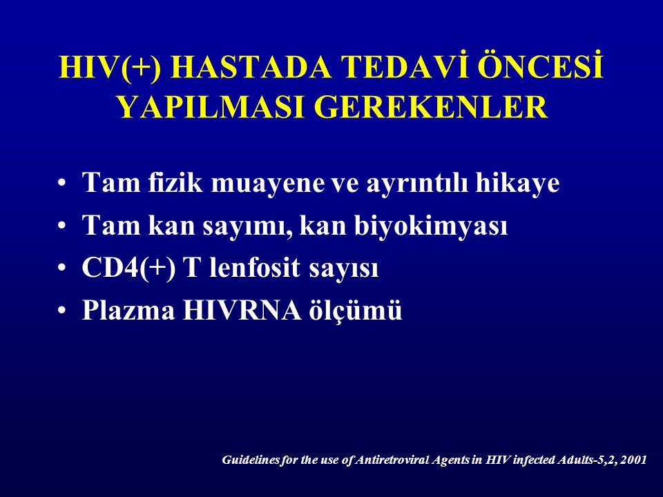 HIV(+) HASTADA TEDAVİ ÖNCESİ YAPILMASI GEREKENLER