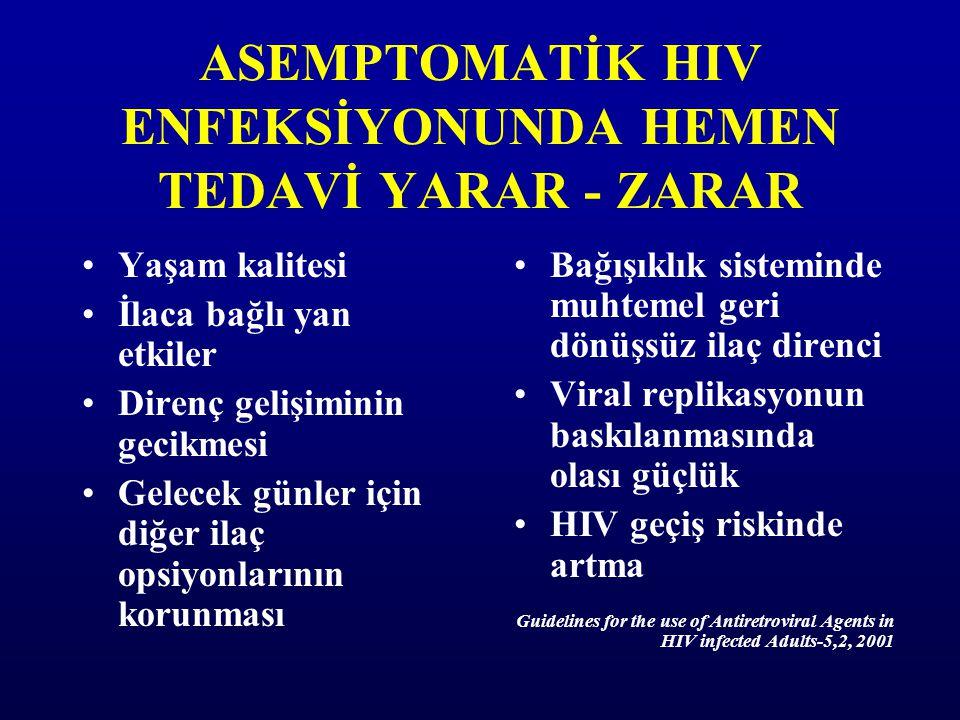 ASEMPTOMATİK HIV ENFEKSİYONUNDA HEMEN TEDAVİ YARAR - ZARAR