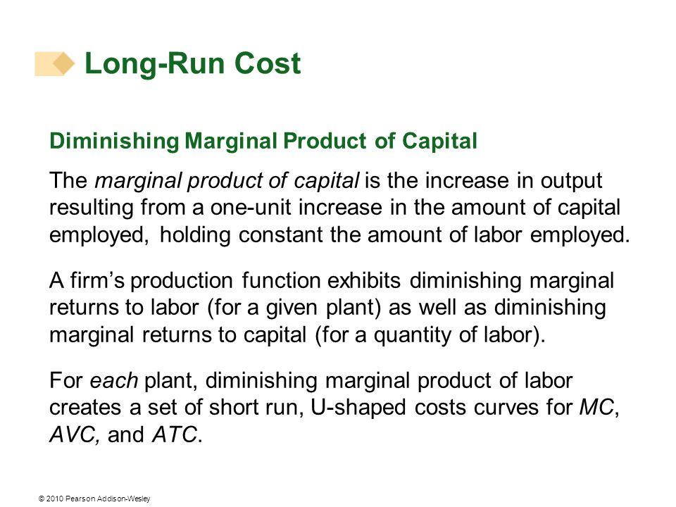 Long-Run Cost Diminishing Marginal Product of Capital