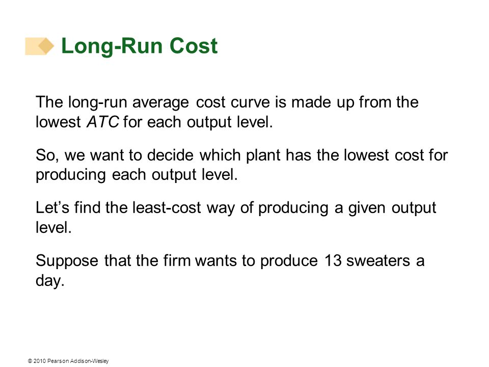 Long-Run Cost The long-run average cost curve is made up from the lowest ATC for each output level.