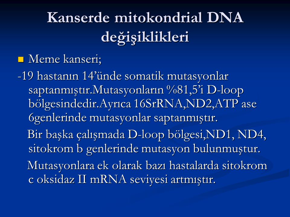 Kanserde mitokondrial DNA değişiklikleri