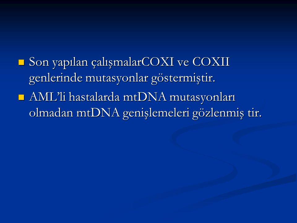 Son yapılan çalışmalarCOXI ve COXII genlerinde mutasyonlar göstermiştir.