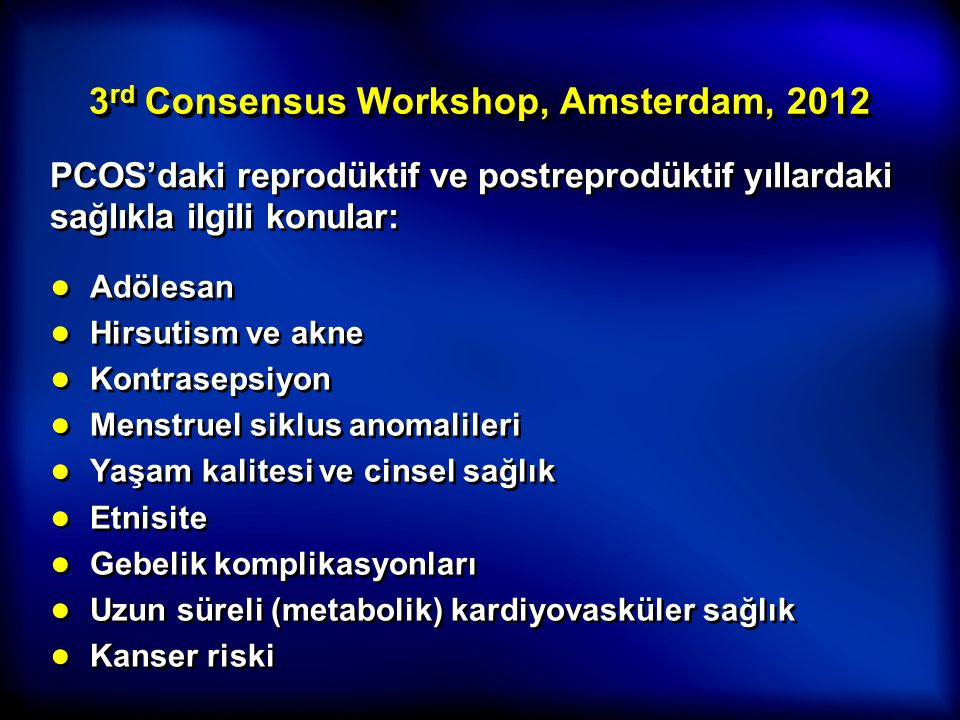 3rd Consensus Workshop, Amsterdam, 2012