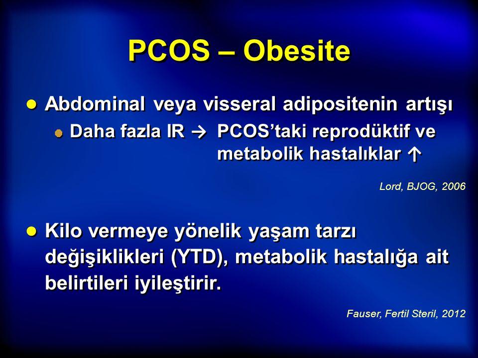 PCOS – Obesite Abdominal veya visseral adipositenin artışı