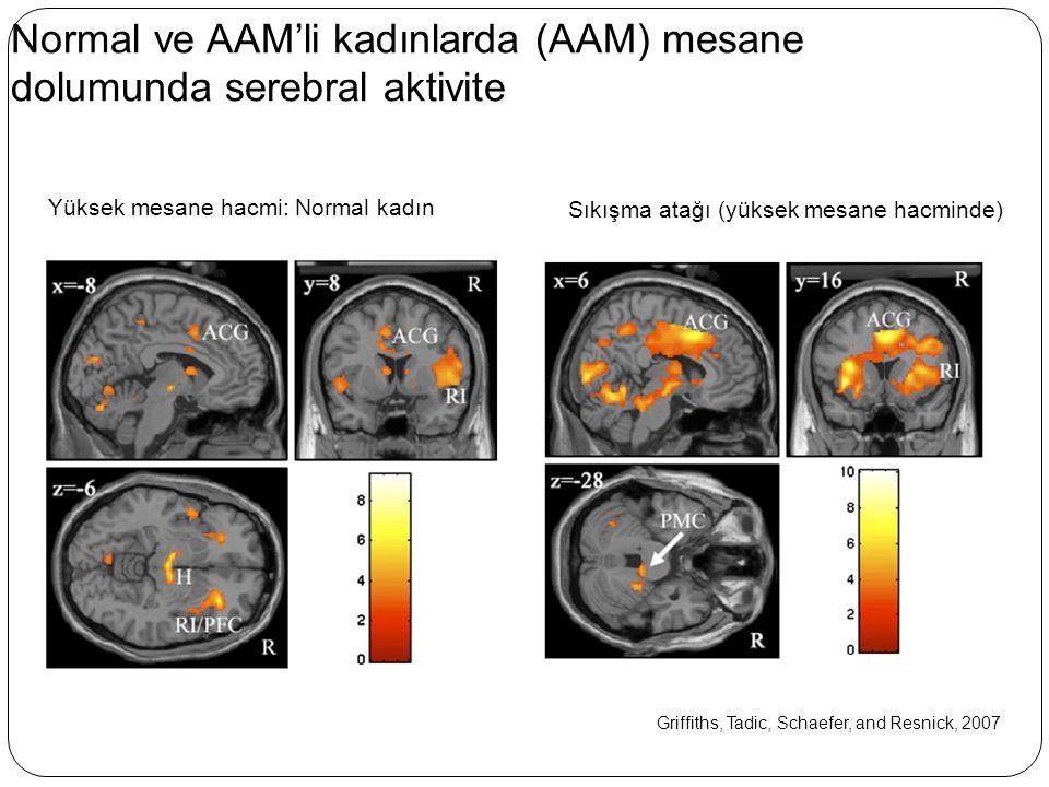 Normal ve AAM'li kadınlarda (AAM) mesane dolumunda serebral aktivite