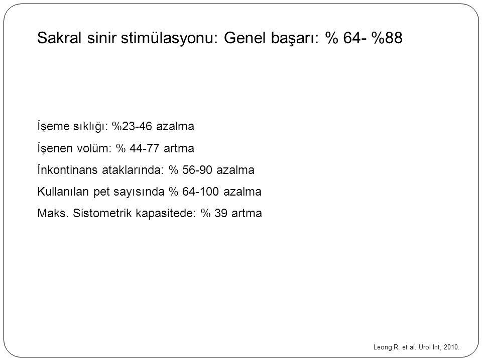 Sakral sinir stimülasyonu: Genel başarı: % 64- %88