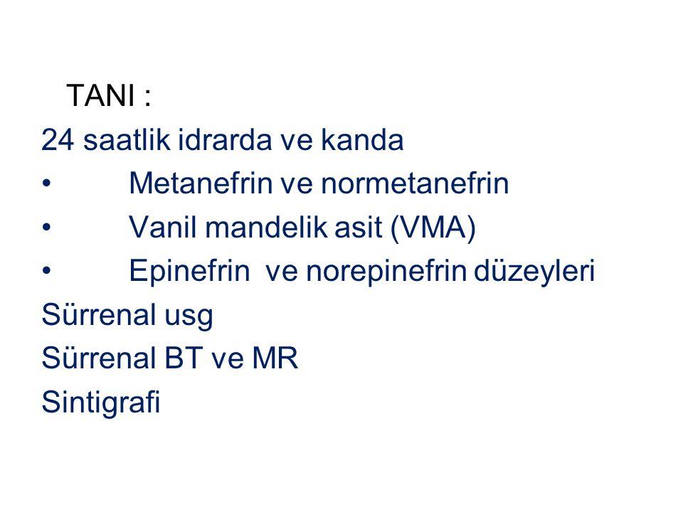 TANI : 24 saatlik idrarda ve kanda. Metanefrin ve normetanefrin. Vanil mandelik asit (VMA) Epinefrin ve norepinefrin düzeyleri.