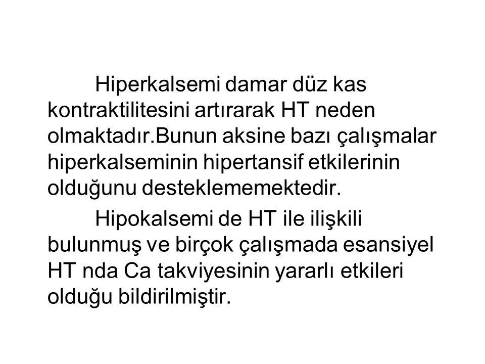 Hiperkalsemi damar düz kas kontraktilitesini artırarak HT neden olmaktadır.Bunun aksine bazı çalışmalar hiperkalseminin hipertansif etkilerinin olduğunu desteklememektedir.