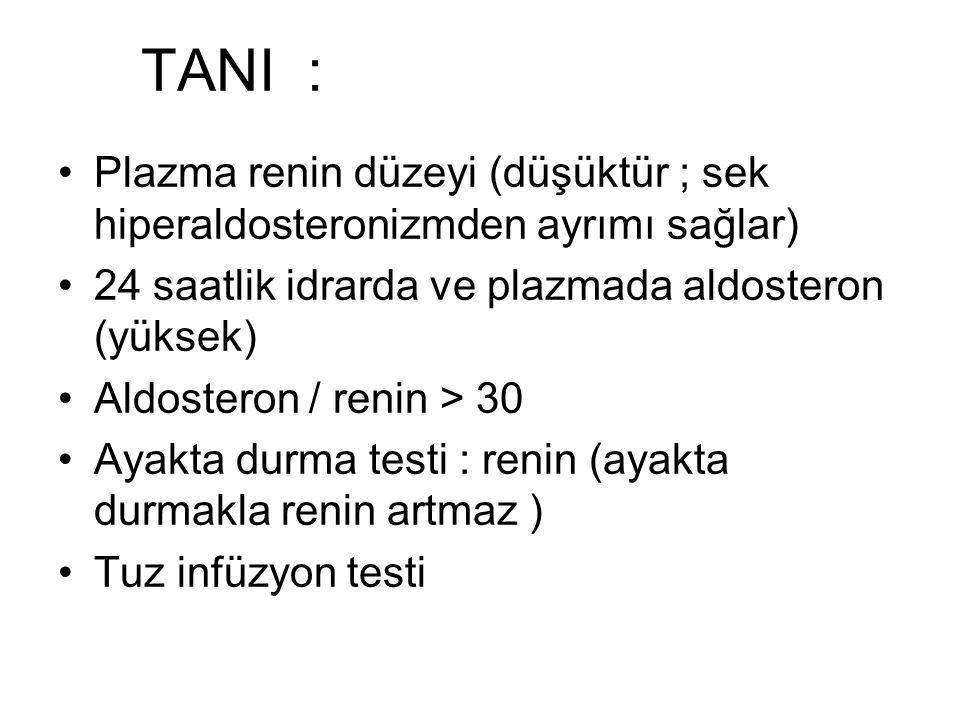TANI : Plazma renin düzeyi (düşüktür ; sek hiperaldosteronizmden ayrımı sağlar) 24 saatlik idrarda ve plazmada aldosteron (yüksek)