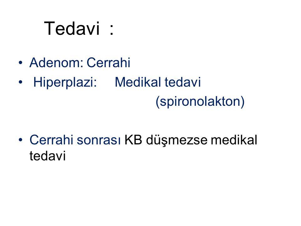 Tedavi : Adenom: Cerrahi Hiperplazi: Medikal tedavi (spironolakton)