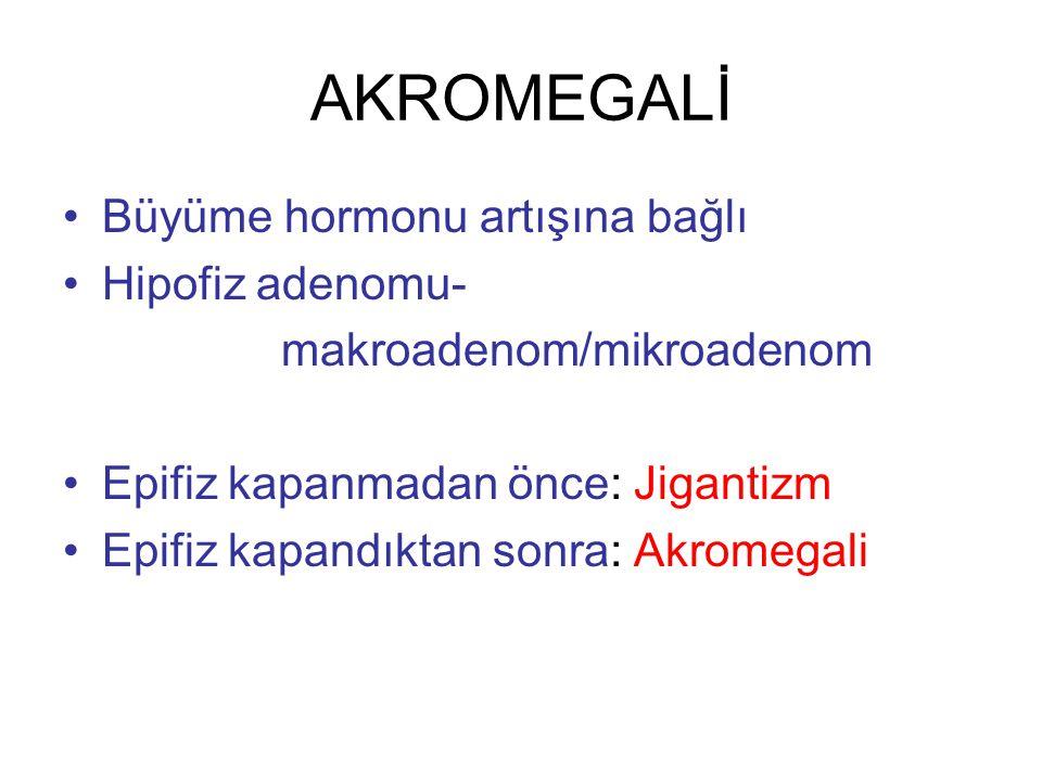AKROMEGALİ Büyüme hormonu artışına bağlı Hipofiz adenomu-