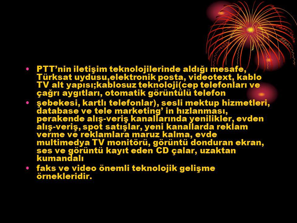 PTT'nin iletişim teknolojilerinde aldığı mesafe, Türksat uydusu,elektronik posta, videotext, kablo TV alt yapısı;kablosuz teknoloji(cep telefonları ve çağrı aygıtları, otomatik görüntülü telefon