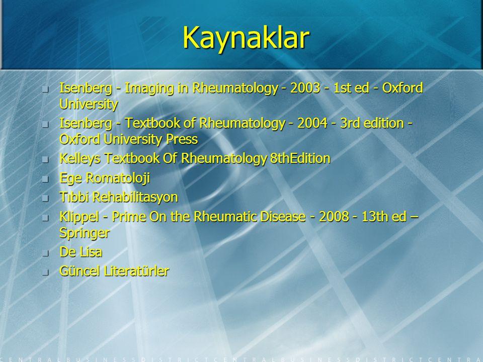 Kaynaklar Isenberg - Imaging in Rheumatology - 2003 - 1st ed - Oxford University.
