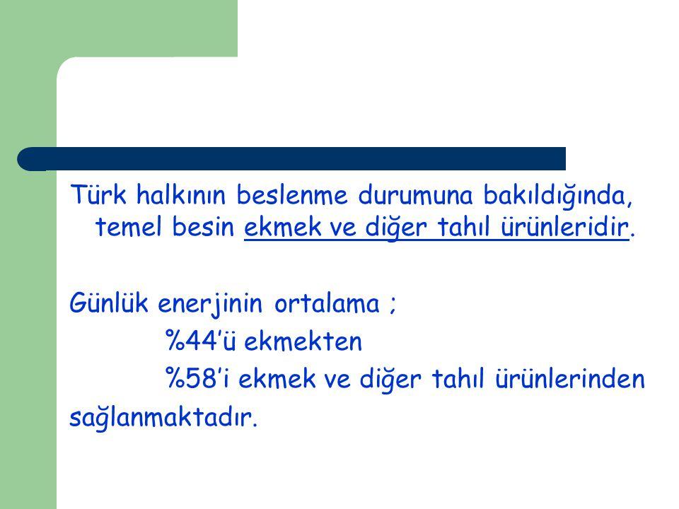 Türk halkının beslenme durumuna bakıldığında, temel besin ekmek ve diğer tahıl ürünleridir.