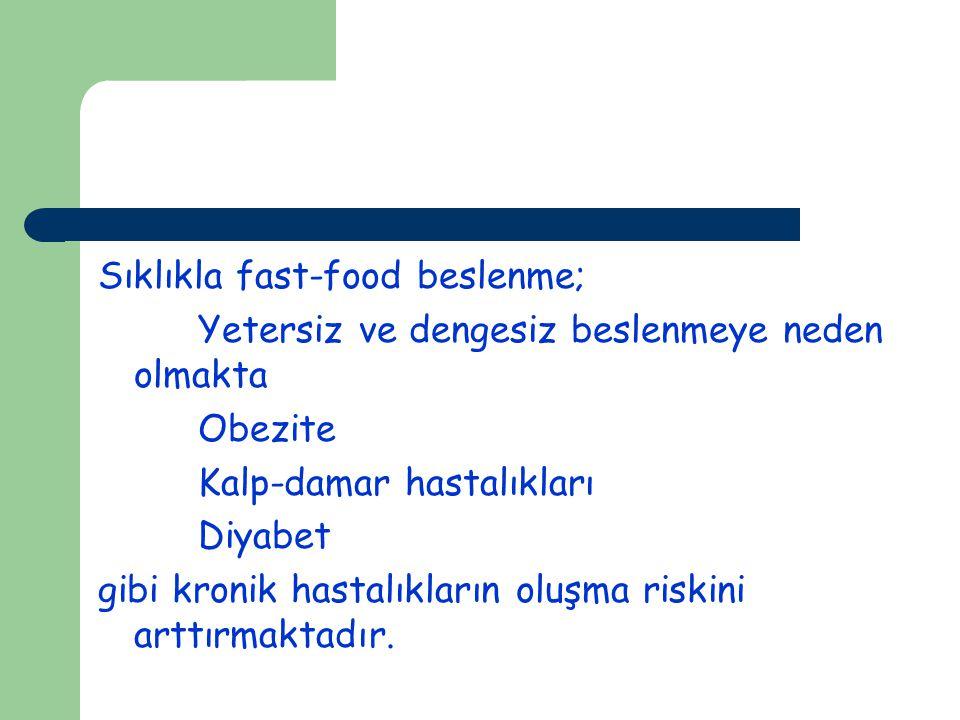 Sıklıkla fast-food beslenme;