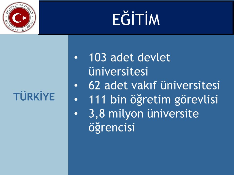 EĞİTİM 103 adet devlet üniversitesi 62 adet vakıf üniversitesi