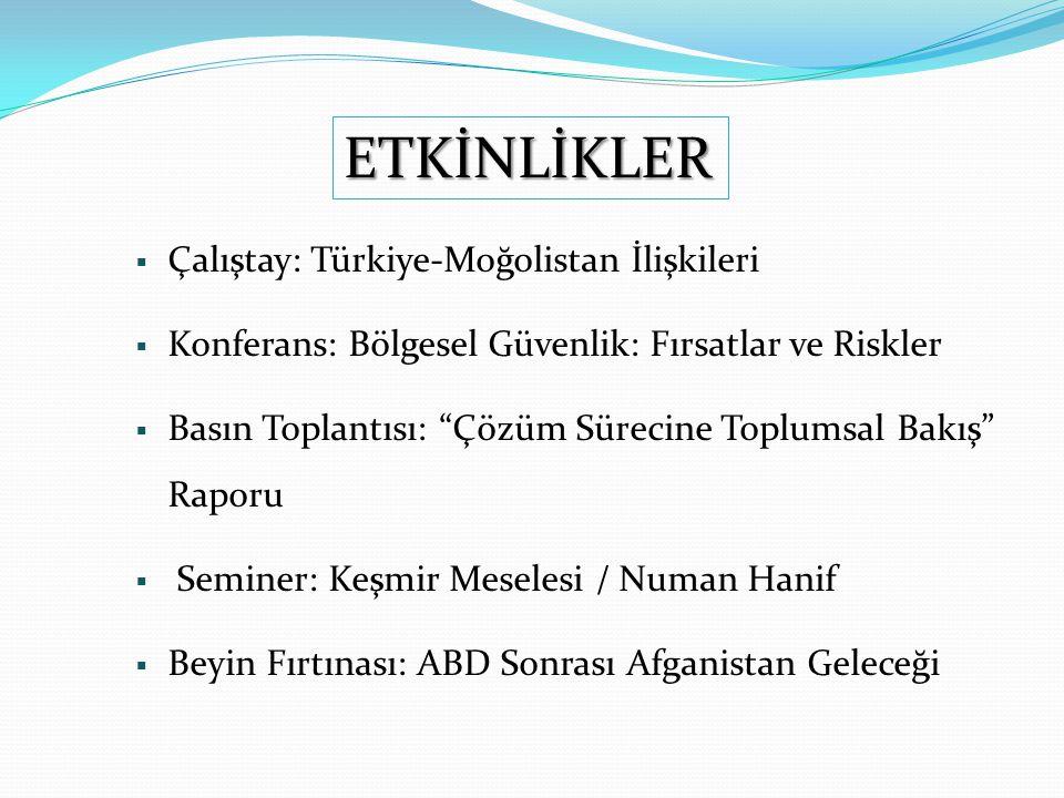 ETKİNLİKLER Çalıştay: Türkiye-Moğolistan İlişkileri