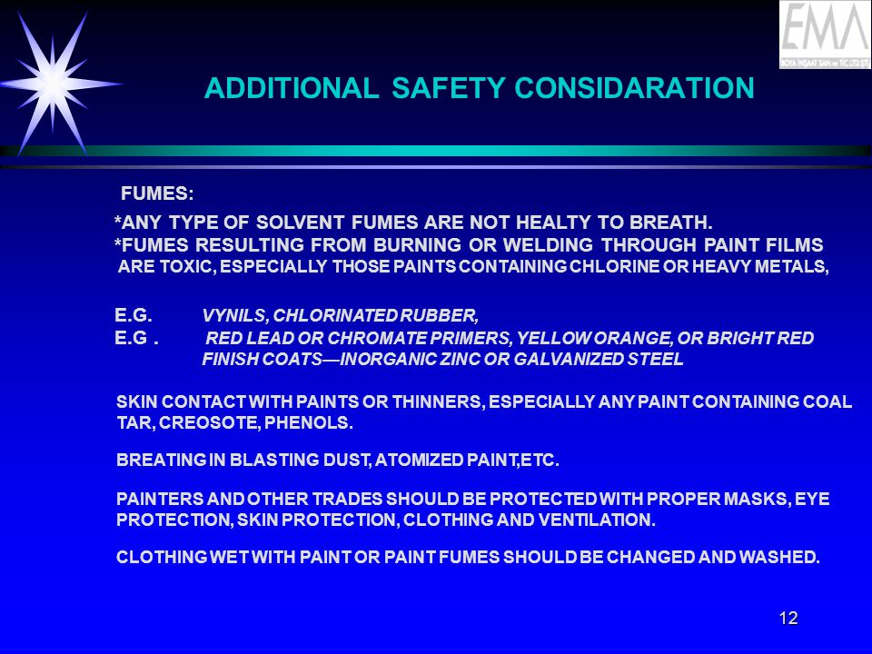 ADDITIONAL SAFETY CONSIDARATION