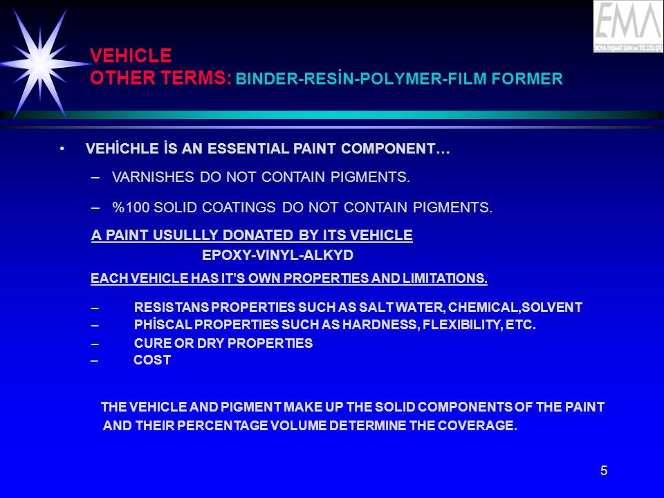 VEHICLE OTHER TERMS: BINDER-RESİN-POLYMER-FILM FORMER