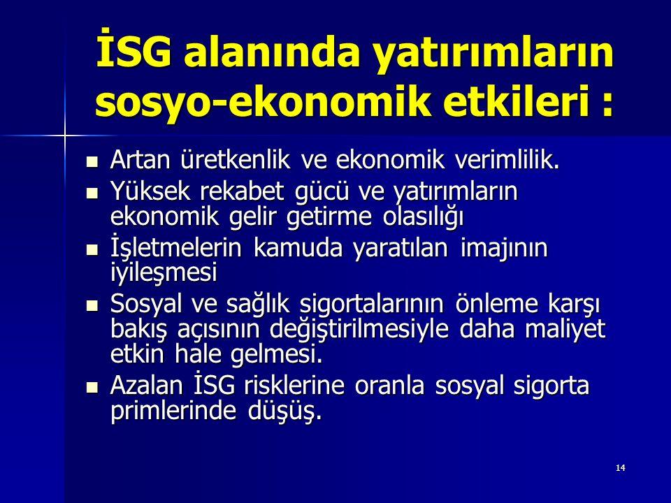 İSG alanında yatırımların sosyo-ekonomik etkileri :