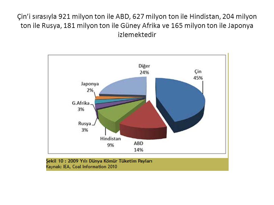 Çin'i sırasıyla 921 milyon ton ile ABD, 627 milyon ton ile Hindistan, 204 milyon ton ile Rusya, 181 milyon ton ile Güney Afrika ve 165 milyon ton ile Japonya izlemektedir