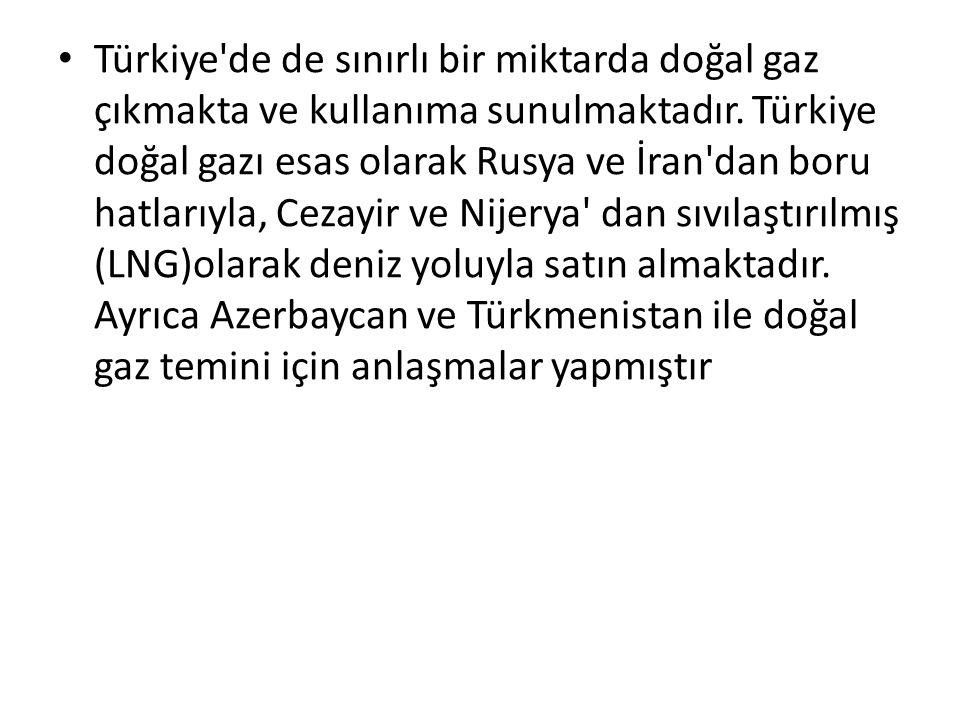 Türkiye de de sınırlı bir miktarda doğal gaz çıkmakta ve kullanıma sunulmaktadır.