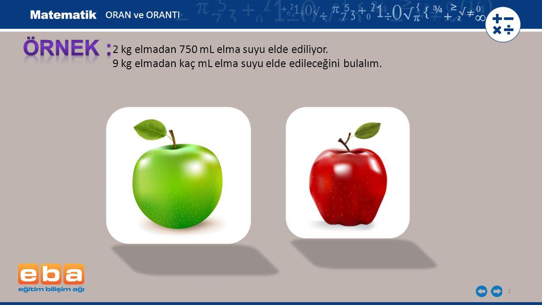 ÖRNEK : 2 kg elmadan 750 mL elma suyu elde ediliyor.