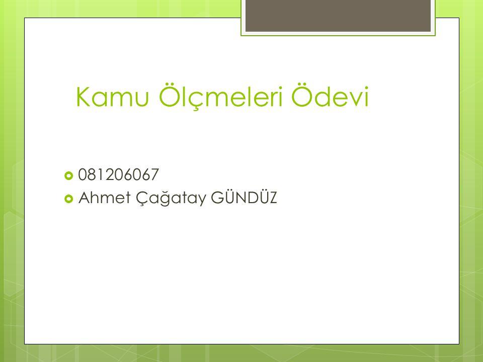 Kamu Ölçmeleri Ödevi 081206067 Ahmet Çağatay GÜNDÜZ