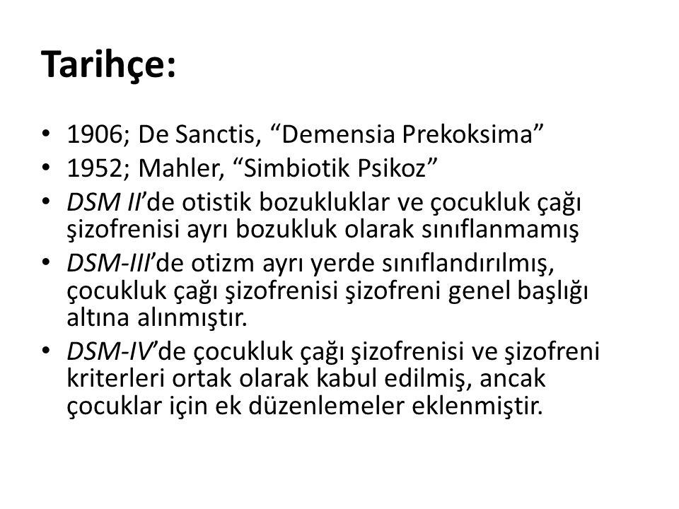 Tarihçe: 1906; De Sanctis, Demensia Prekoksima