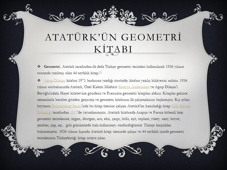 Atatürk'ün geometrİ kİtabI