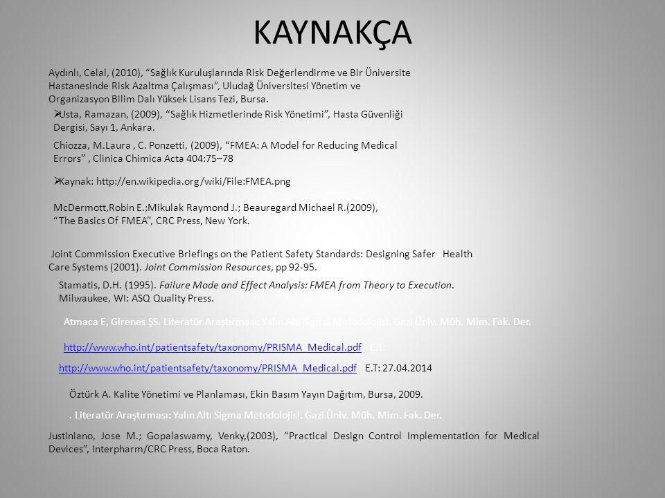 KAYNAKÇA Aydınlı, Celal, (2010), Sağlık Kuruluşlarında Risk Değerlendirme ve Bir Üniversite.