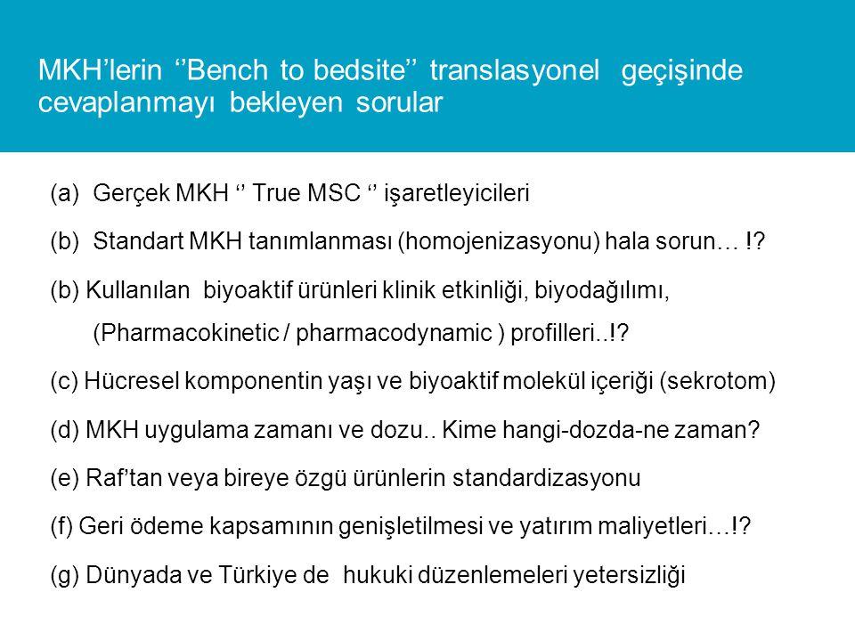 MKH'lerin ''Bench to bedsite'' translasyonel geçişinde cevaplanmayı bekleyen sorular