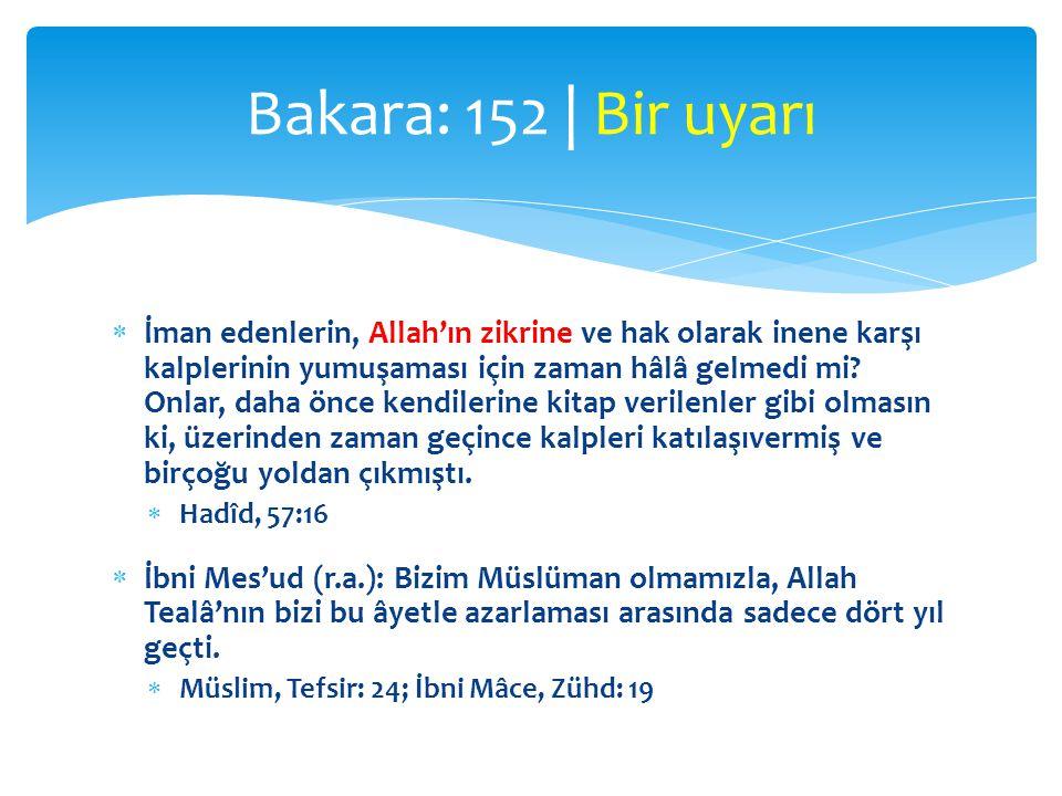 Bakara: 152 | Bir uyarı