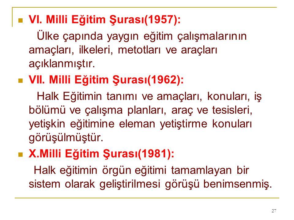 VI. Milli Eğitim Şurası(1957):