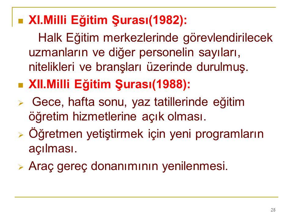 XI.Milli Eğitim Şurası(1982):