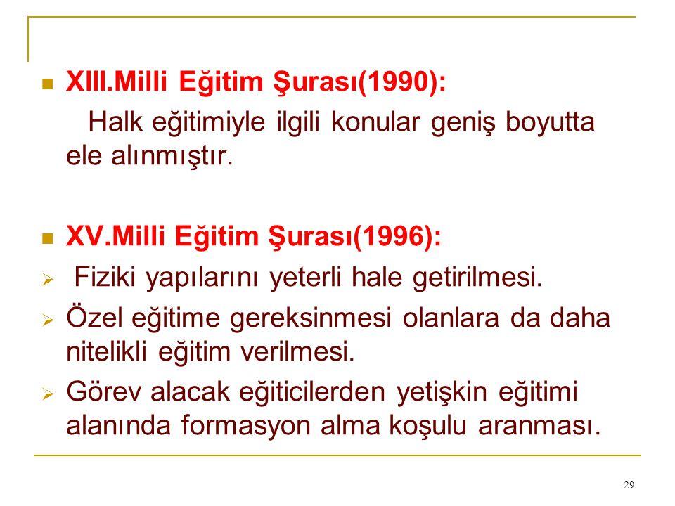 XIII.Milli Eğitim Şurası(1990):