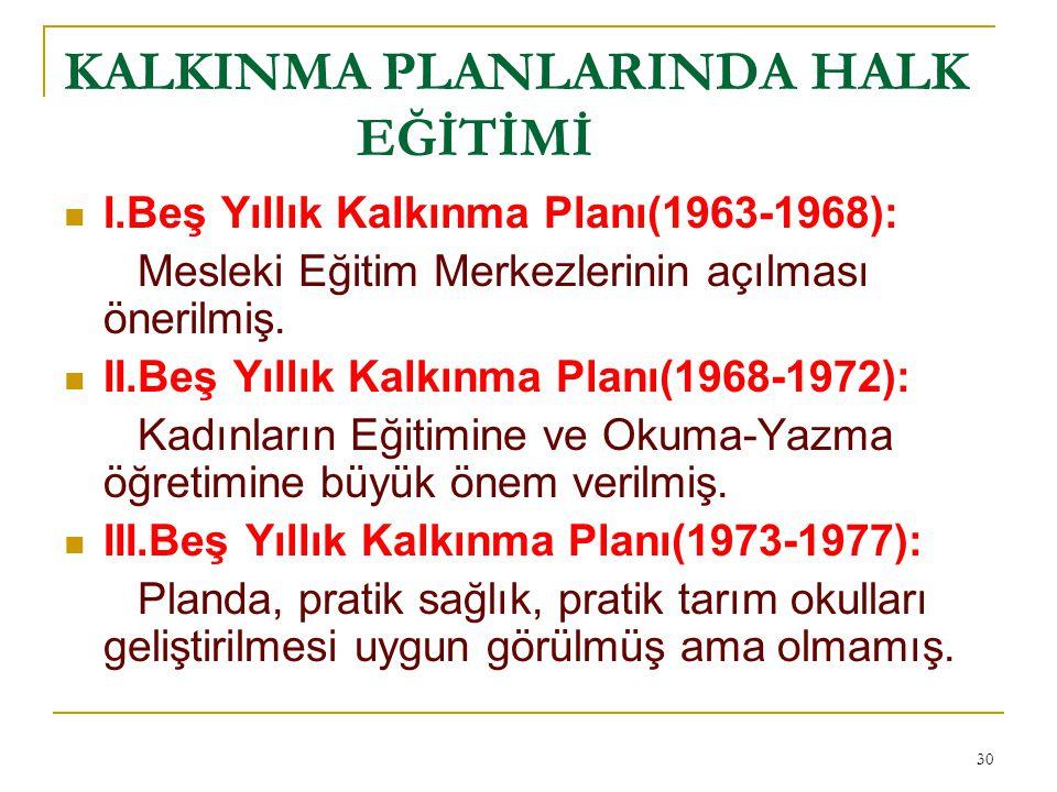 KALKINMA PLANLARINDA HALK EĞİTİMİ