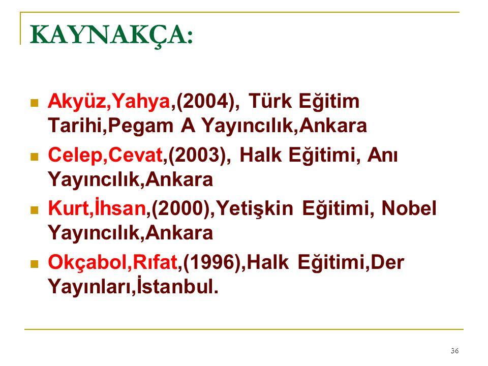 KAYNAKÇA: Akyüz,Yahya,(2004), Türk Eğitim Tarihi,Pegam A Yayıncılık,Ankara. Celep,Cevat,(2003), Halk Eğitimi, Anı Yayıncılık,Ankara.