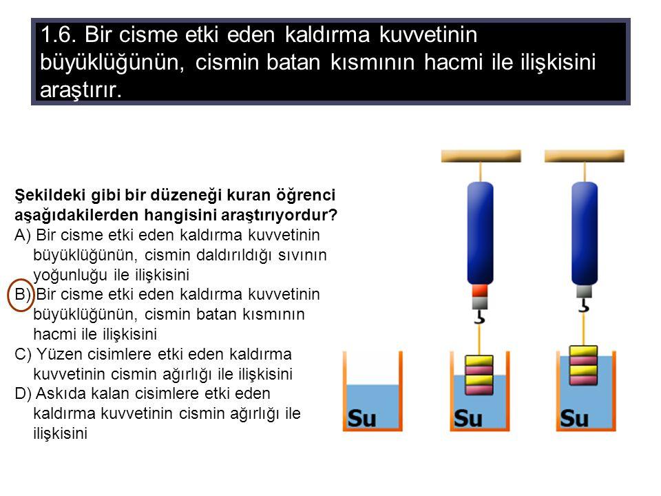 1.6. Bir cisme etki eden kaldırma kuvvetinin büyüklüğünün, cismin batan kısmının hacmi ile ilişkisini araştırır.