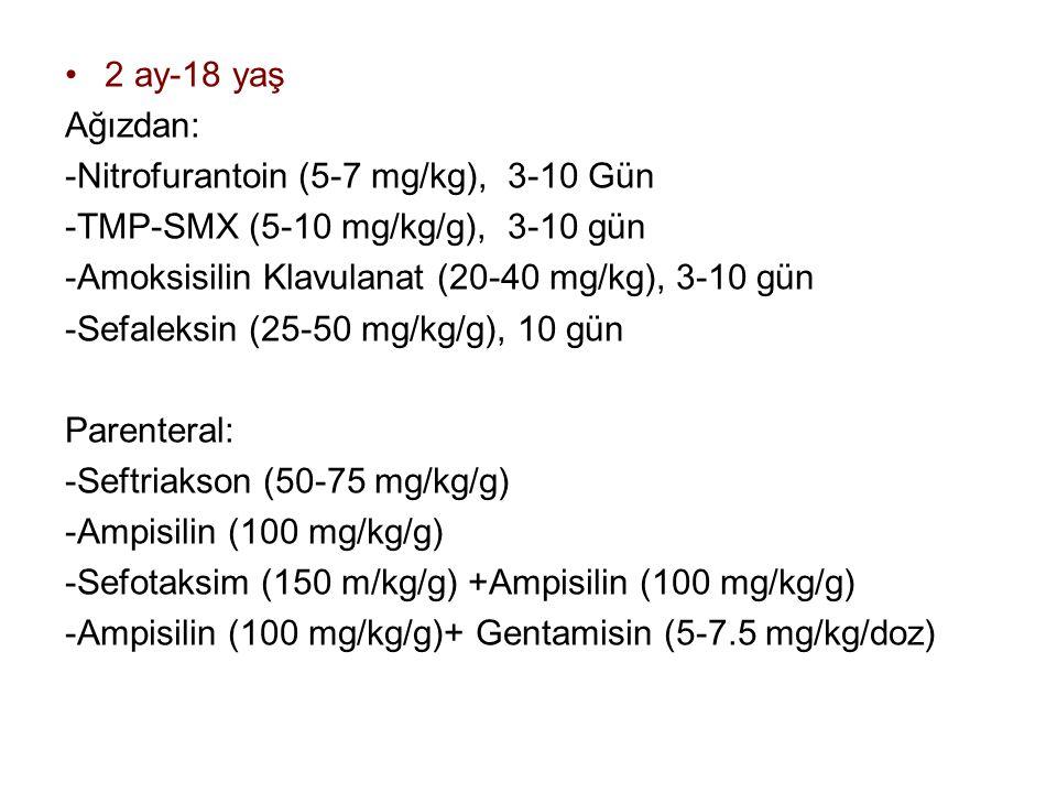 2 ay-18 yaş Ağızdan: -Nitrofurantoin (5-7 mg/kg), 3-10 Gün. -TMP-SMX (5-10 mg/kg/g), 3-10 gün. -Amoksisilin Klavulanat (20-40 mg/kg), 3-10 gün.