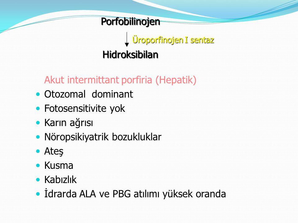 Akut intermittant porfiria (Hepatik) Otozomal dominant